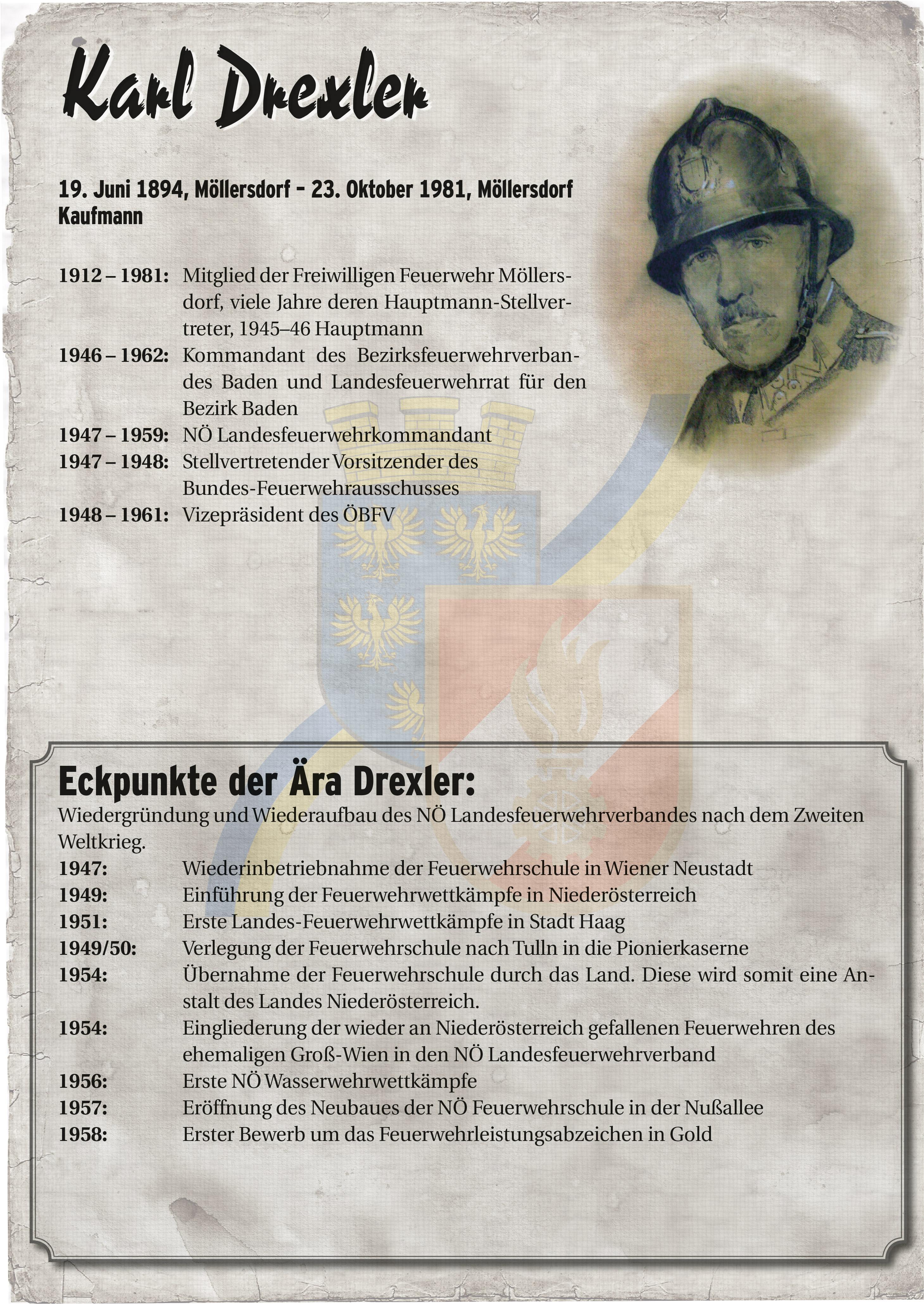Infoblatt zur Zeit von Karl Drexler