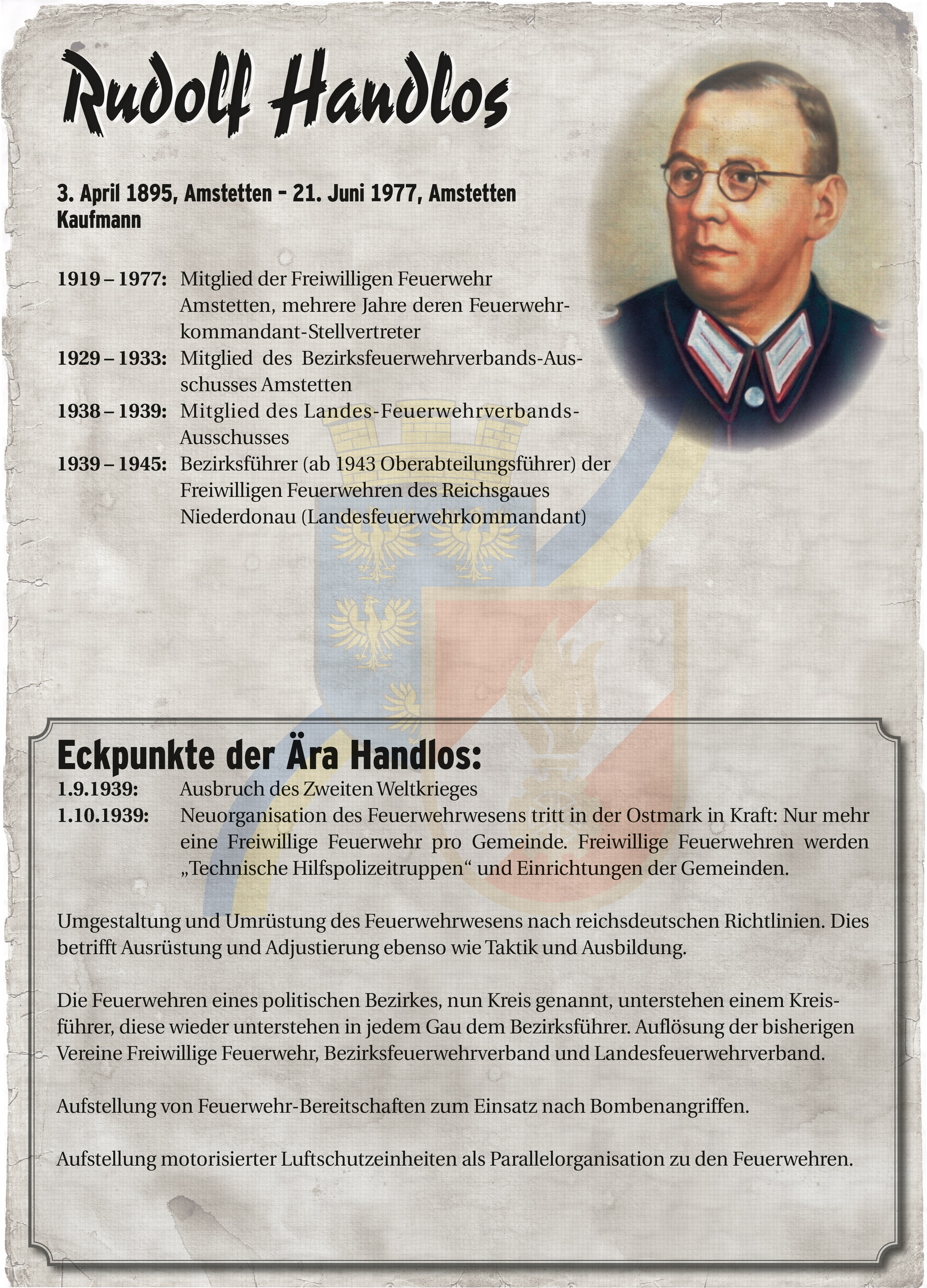 Infoblatt zur Zeit von Rudolf Handlos