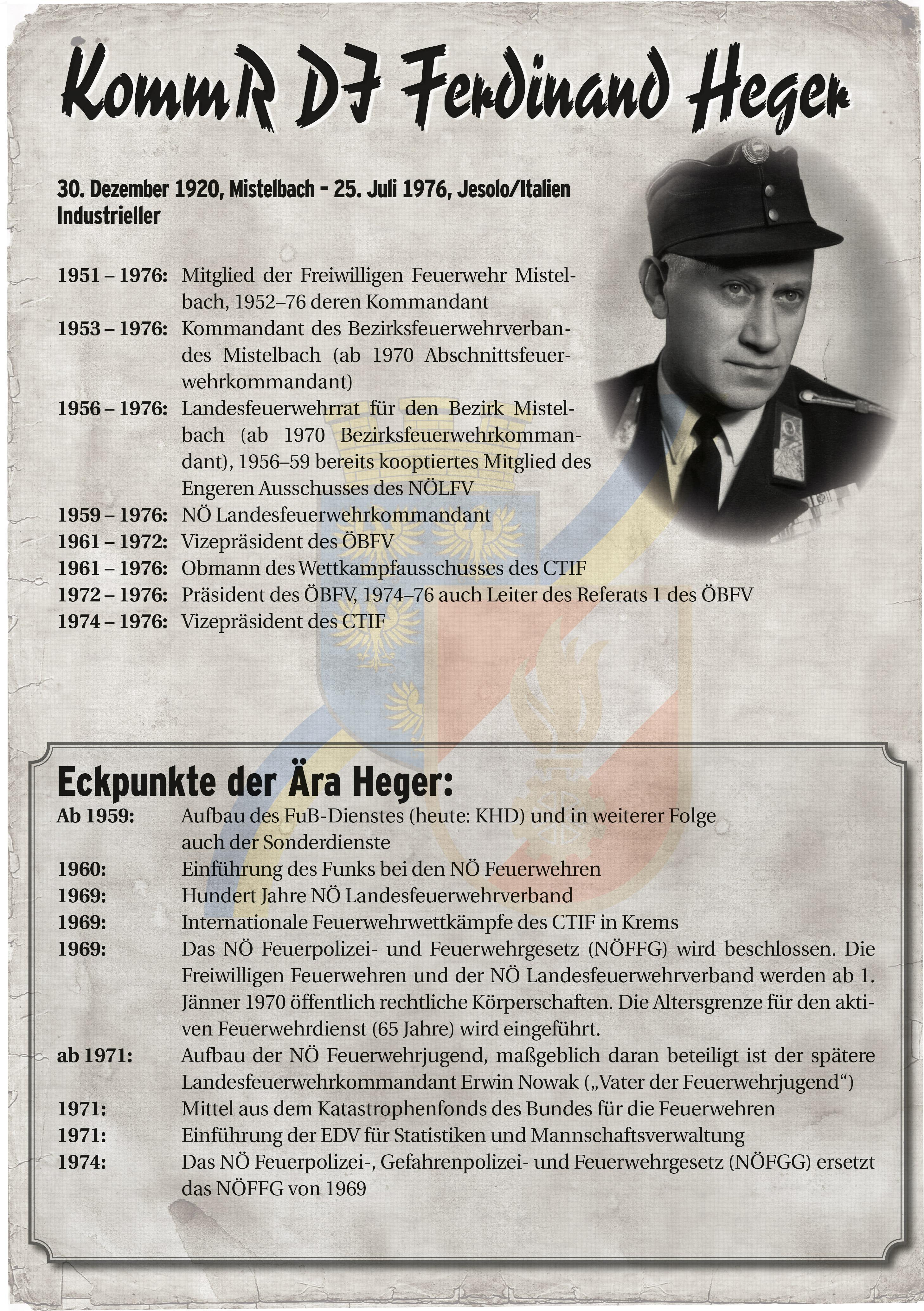 Infoblatt zur Zeit von Ferdinand Heger