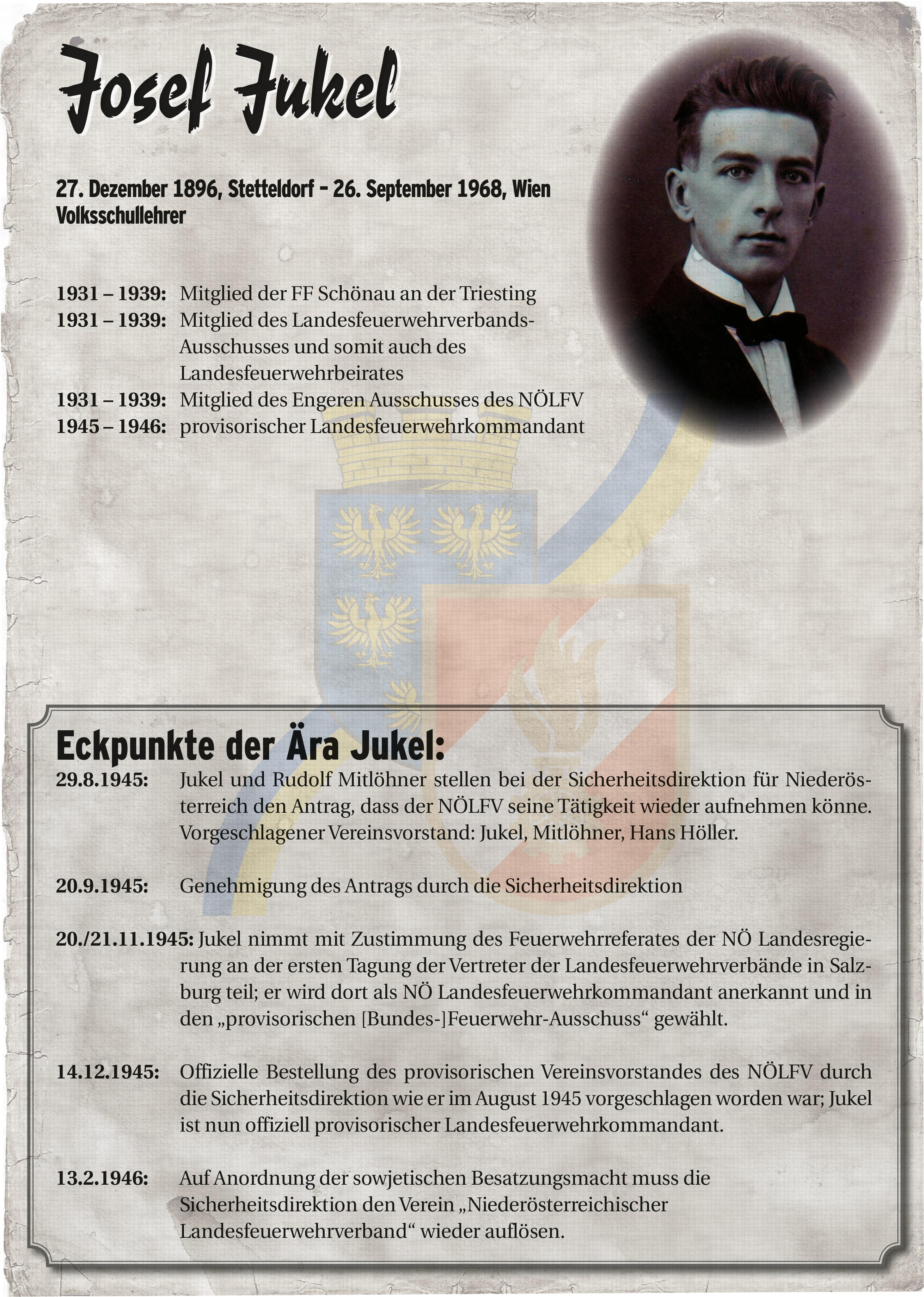 Infoblatt zur Zeit von Josef Jukel
