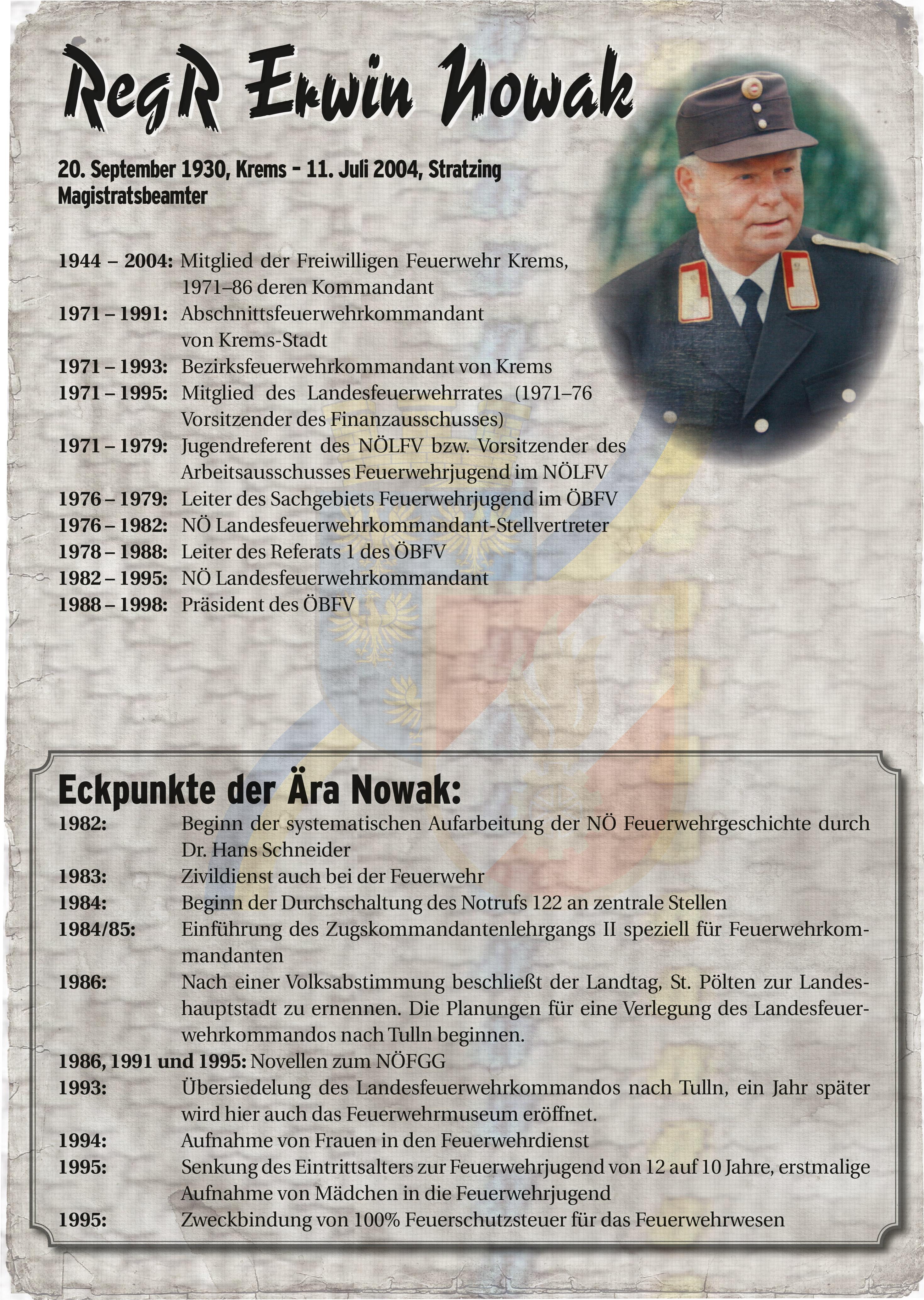 Infoblatt zur Zeit von Erwin Nowak