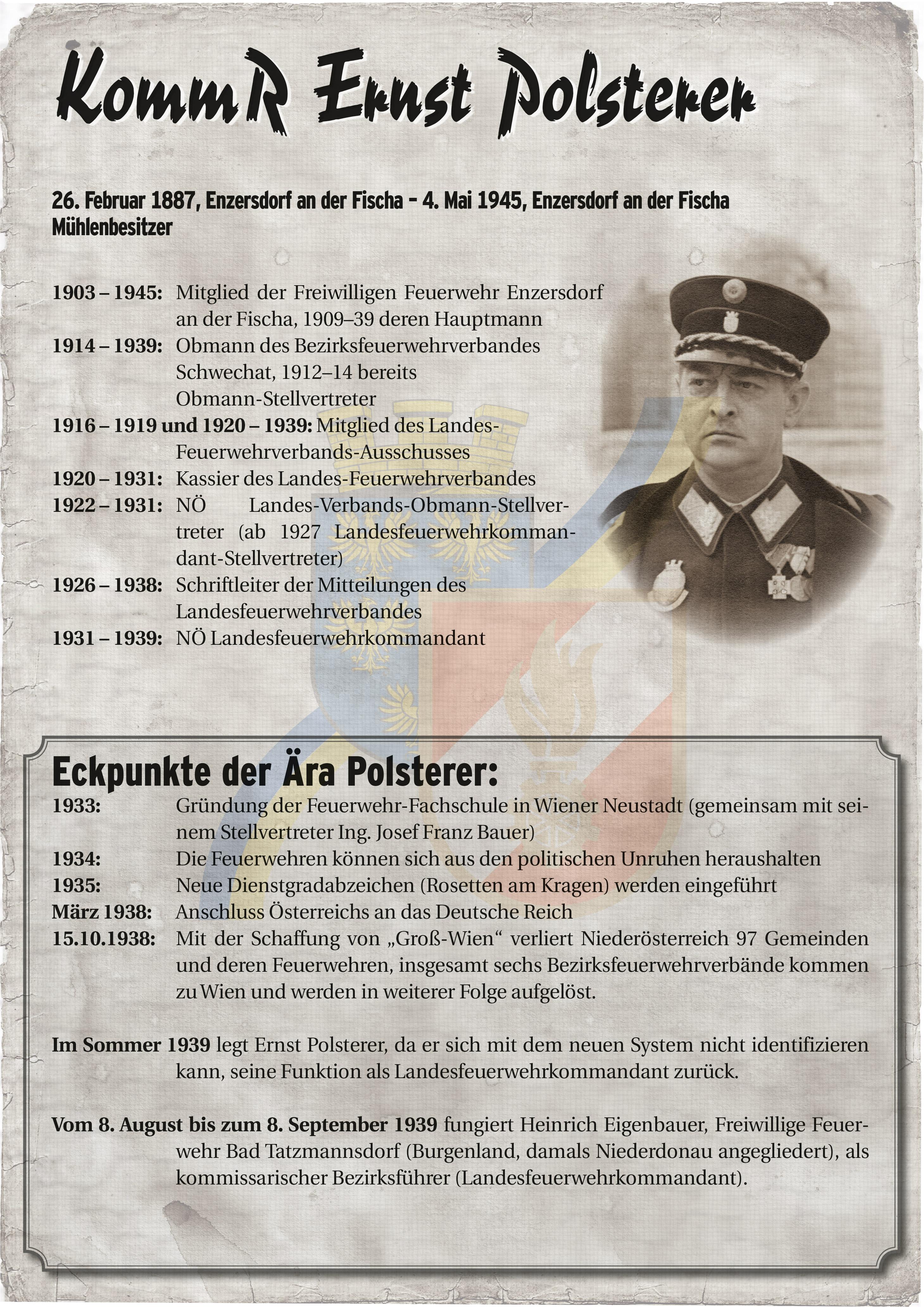 Infoblatt zur Zeit von Ernst Polsterer