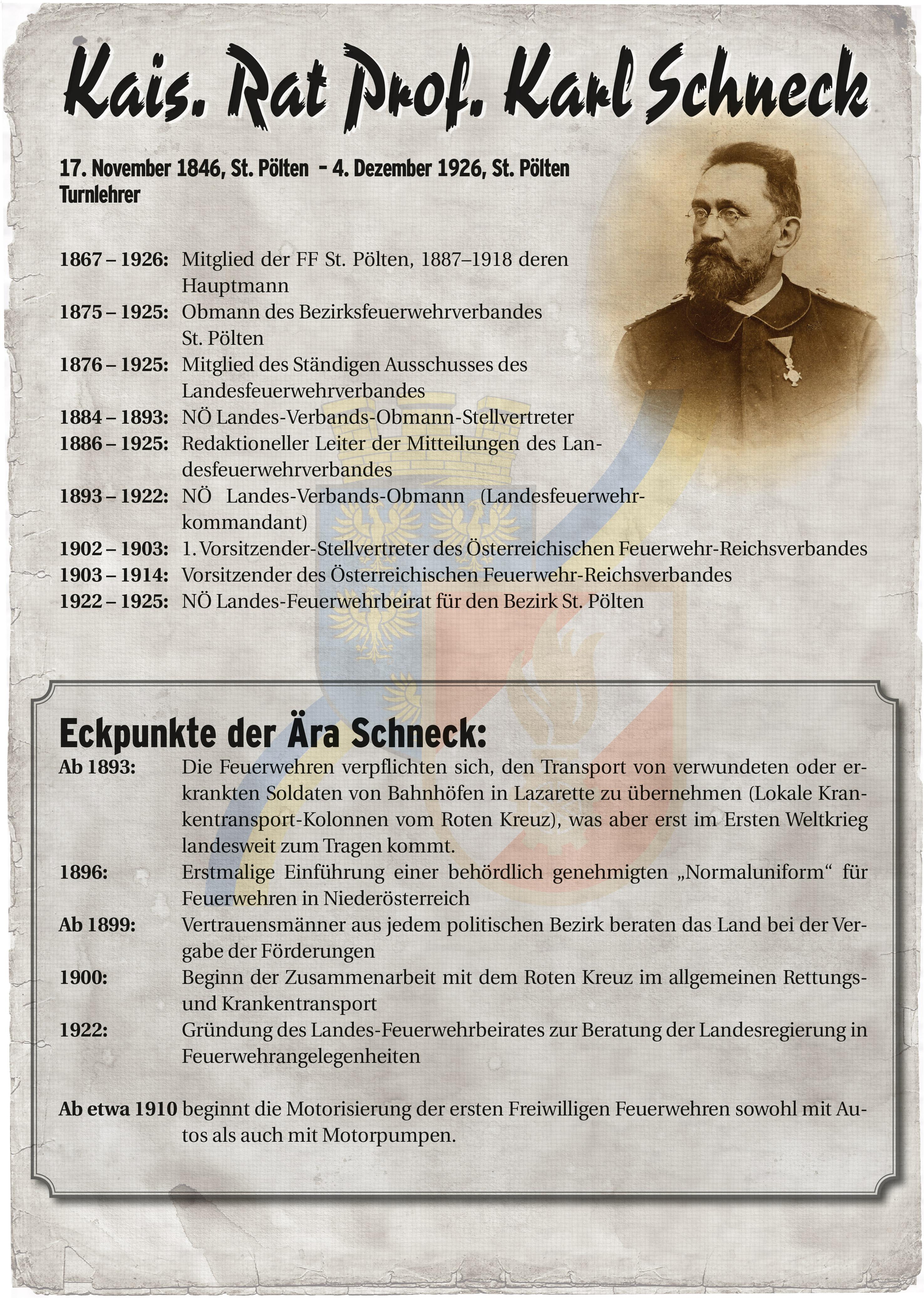 Infoblatt zur Zeit von Karl Schneck