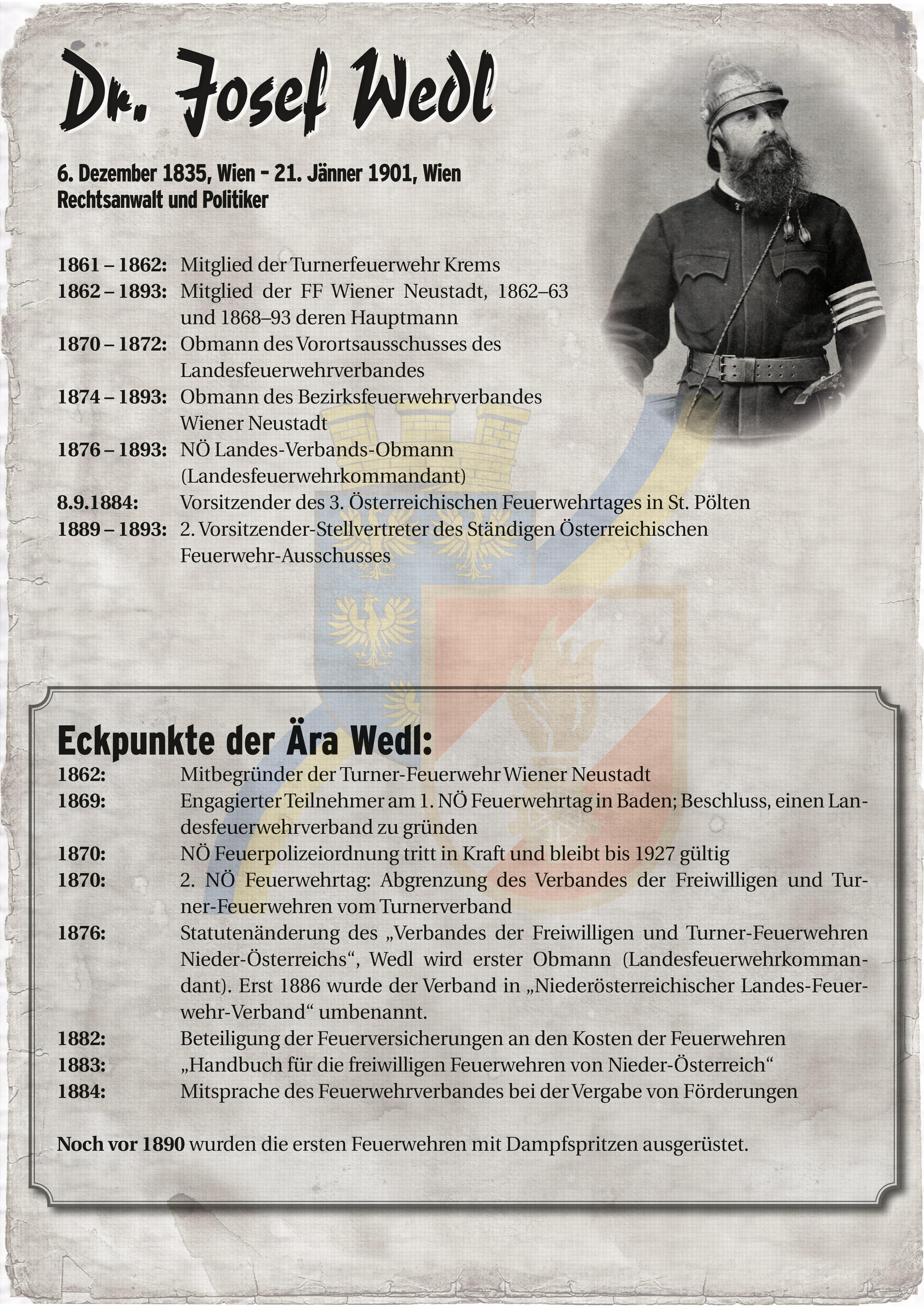 Infoblatt zur Zeit von Josef Wedl