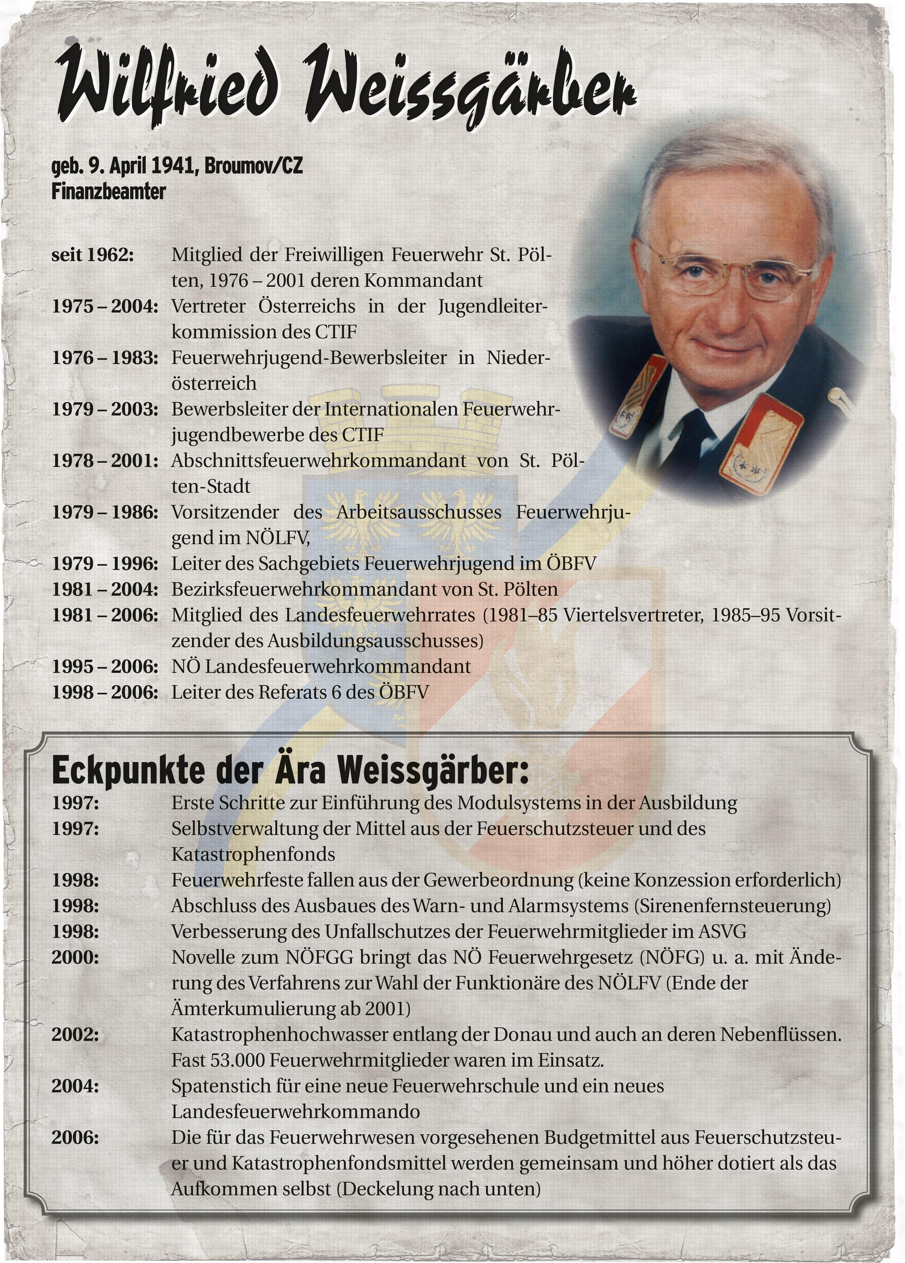 Infoblatt zur Zeit von Wilfried Weissgärber